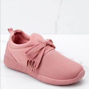 Pink knit sneakers